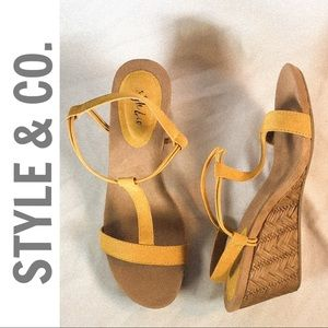 STYLE & CO. Mustard Gold TStrap Wedge Sandals